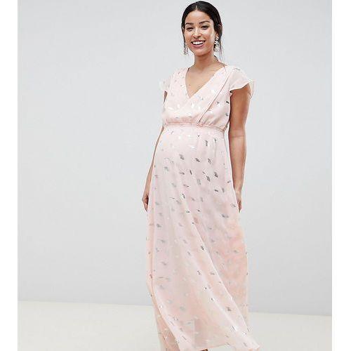 Mamalicious Wrap Maxi Dress With Metallic Print - Multi