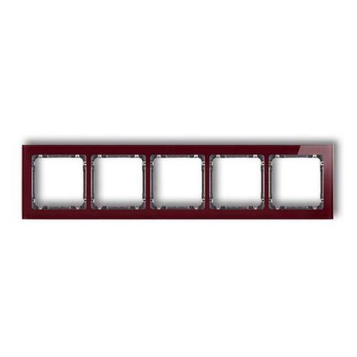 Karlik Ramka pięciokrotna deco 14-11-drs-5 efekt szkła spód biały ramka bordowa (5901832006671)