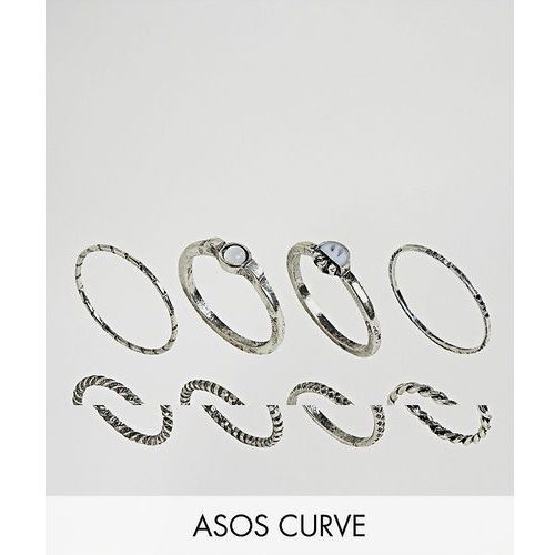 pack of 8 woven band and stone rings - silver marki Asos curve