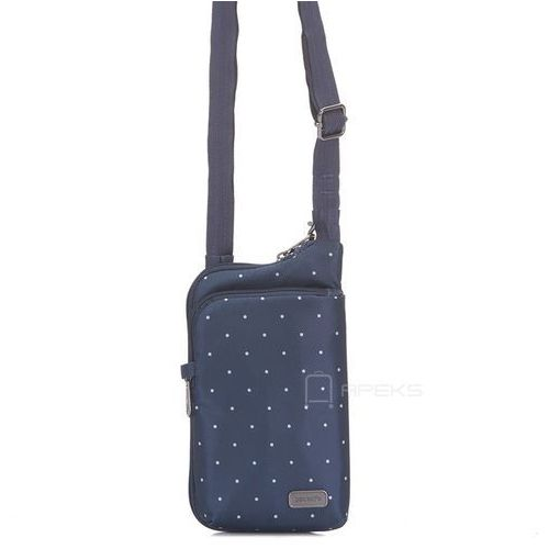 Pacsafe daysafe tech crossbody damska torebka na ramię / saszetka / granatowa - navy polka dot