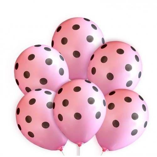 Balony różowe w czarne kropki - 30 cm - 100 szt.