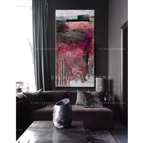 Duże obrazy nowoczesne - ręcznie malowane - fuksjowa fantazja