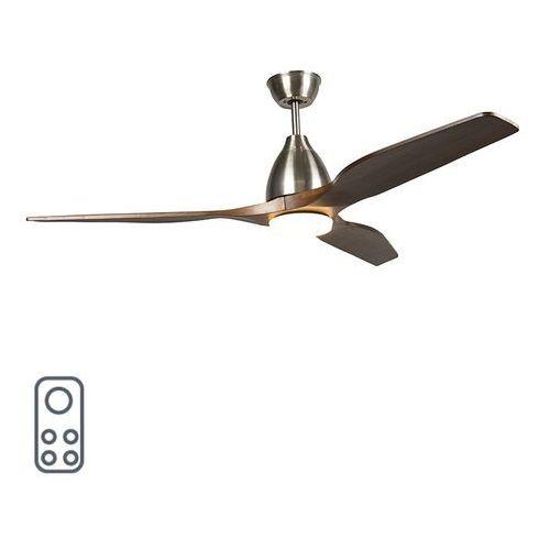 Wentylator sufitowy z drewna wraz z diodą led z pilotem - levant 52 marki Qazqa