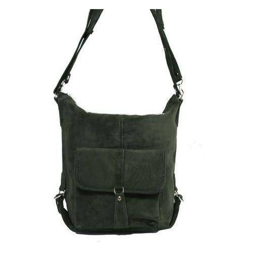 Shopper bag zamszowy 2w1 zielony marki Milskór