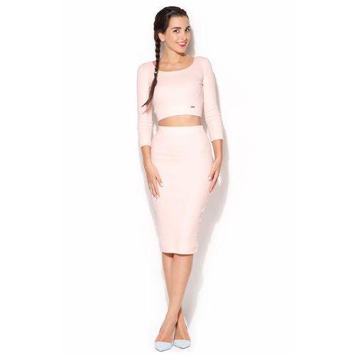Bawełniany Komplet Midi Spódnica + Krótka Bluzka - Różowy, w 4 rozmiarach