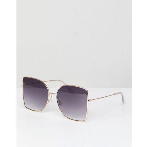 metal oversized square sunglasses with pearl nose bridge - gold marki Asos