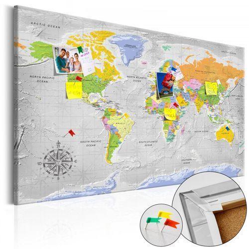 Obraz na korku - Mapa świata: Róża wiatrów [Mapa korkowa]