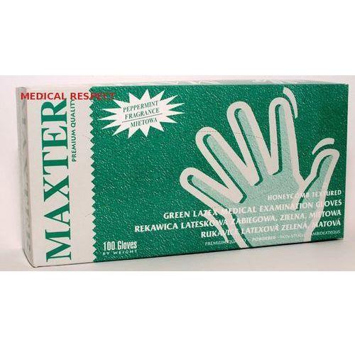 Rękawice lateksowe pudrowane MIĘTOWE Maxter a 100szt. L, 25-11-12
