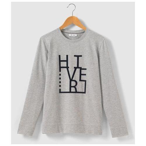 R pop T-shirt z flokowanym napisem hiver, z długim rękawem, 10-16 lat