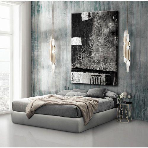 Obrazy nowoczesne - strukturalna abstrakcja - srebrne kontrasty