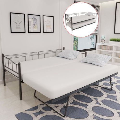 łóżko rozkładane tylko rama 211x100x95 cm stal czarne marki Vidaxl