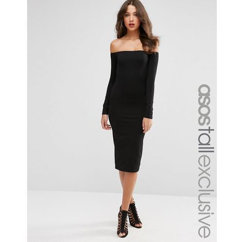 ASOS TALL Bardot Bodycon Midi Dress with Long Sleeves - Black, kolor czarny