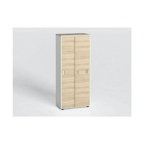 B2b partner Szafa biurowa z przesuwnymi drzwiami, 1781 x 800 x 420 mm, biały/dąb naturalny