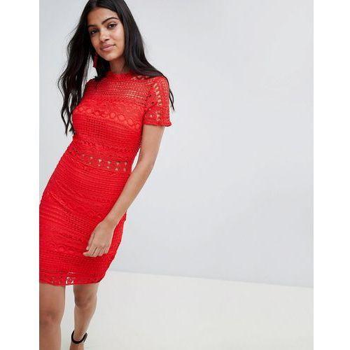 Parisian High Neck Short Sleeve Lace Shift Dress - Red