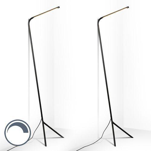 Qazqa Zestaw 2 lamp stojących lazy lamp czarna