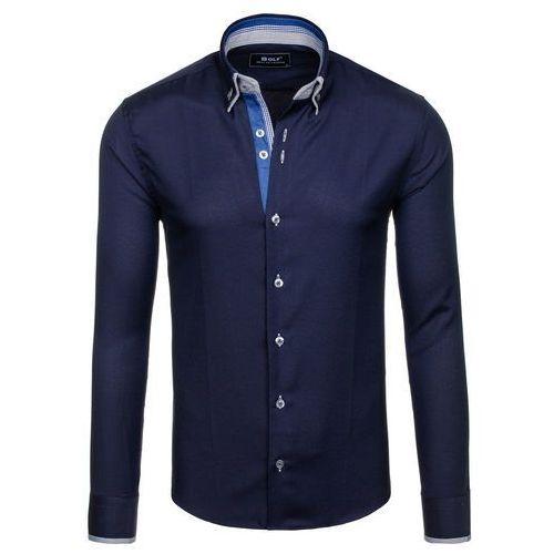 Granatowa koszula męska elegancka z długim rękawem Bolf 5805 - GRANATOWY