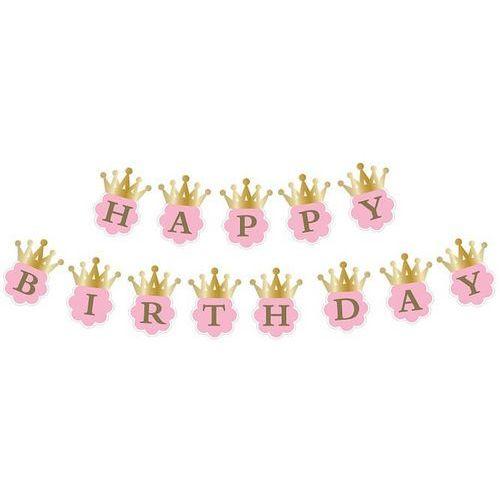 Baner happy birthday z koronami różowy 180 cm marki Twojestroje.pl