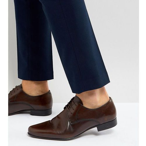 wide fit derby shoes in brown leather - brown, Asos