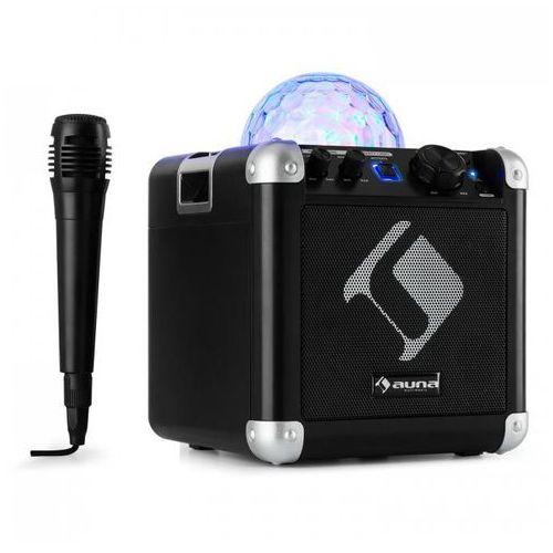 Bc-10 zestaw karaoke oświetlenie dyskotekowe led bluetooth baterie usb aux-in czarny marki Auna