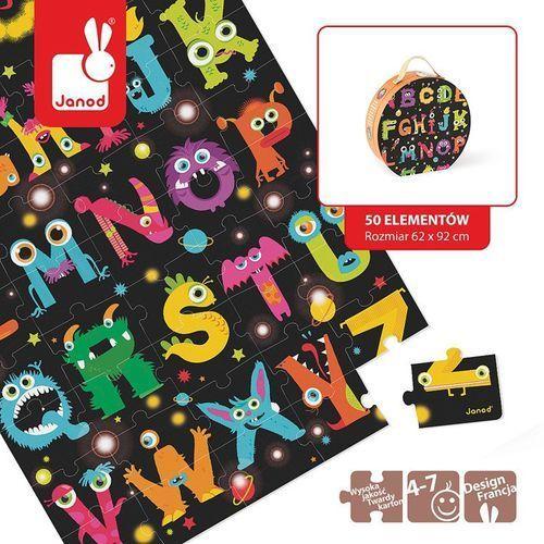 - puzzle podłogowe w walizce alfabet potworki marki Janod