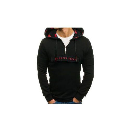 Długa bluza męska z kapturem z nadrukiem czarna denley 171588, Breezy