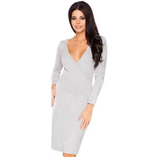 Jasnoszara wizytowa sukienka ołówkowa z kopertowym dekoltem z długim rękawem marki Tessita