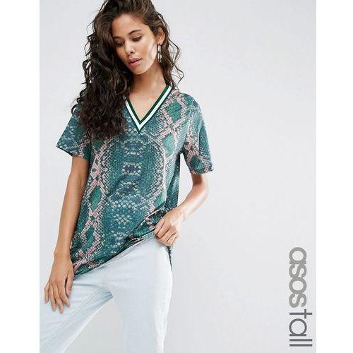 ASOS TALL T-Shirt in Bright Snake Print with Stripe Tipping in Longline - Multi z kategorii Pozostała moda i styl