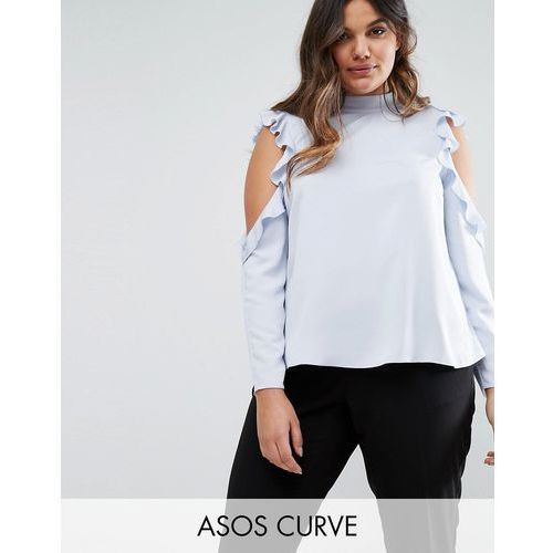 ASOS CURVE Satin Top With High Neck & Ruffle Cold Shoulder - Blue