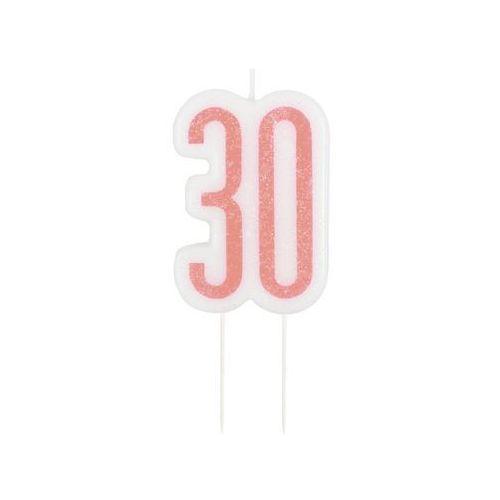 Brokatowa różowo-złota świeczka na 30-stke - 1 szt. marki Unique