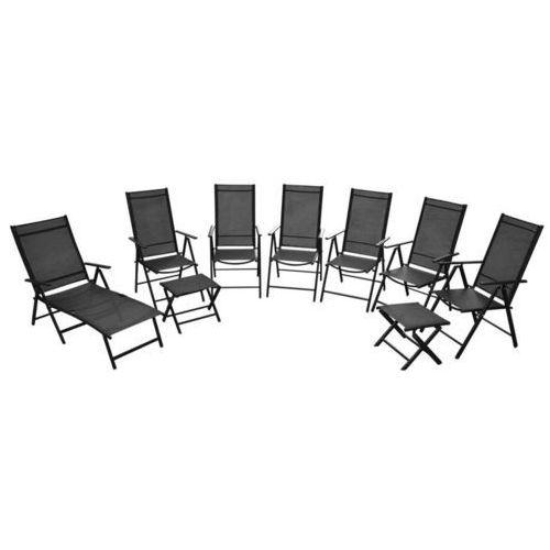 Vidaxl składane krzesła ogrodowe, 9 szt., aluminium, czarne (8718475969884)
