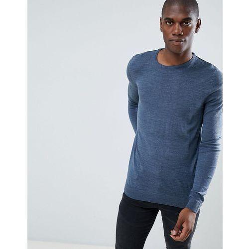 basic soft touch crew neck jumper - blue marki Threadbare