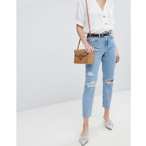 New Look Ripped Mom Jeans - Blue