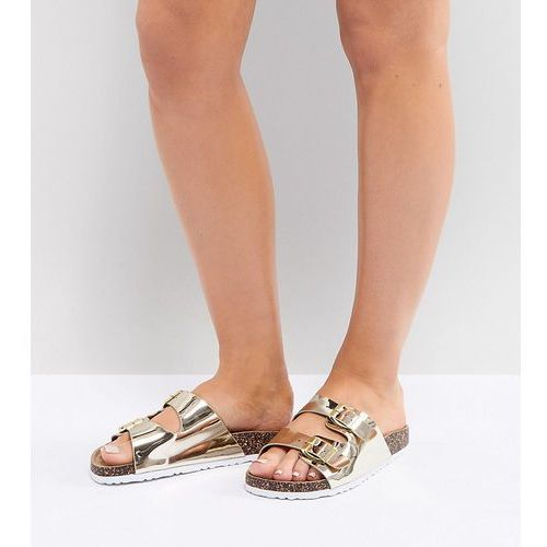 wide fit double buckle flat sandals - gold, Park lane