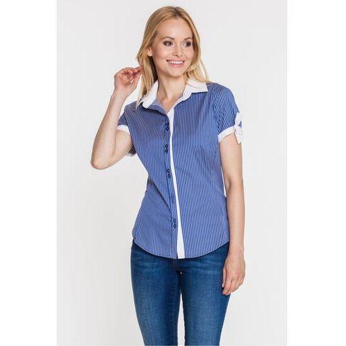 Niebieska koszula w paski z krótkim rękawem - Duet Woman, kolor niebieski