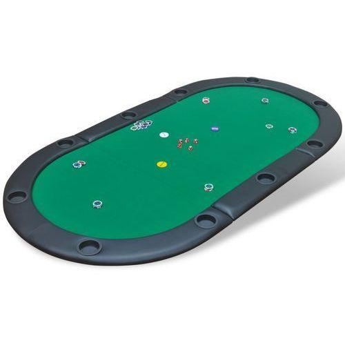 vidaXL Składany blat do stołu pokerowego dla 10 graczy, zielony (8718475957386)