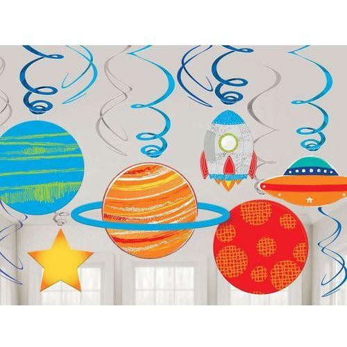 Amscan Dekoracja wisząca urodzinowa kosmos - 12 szt.