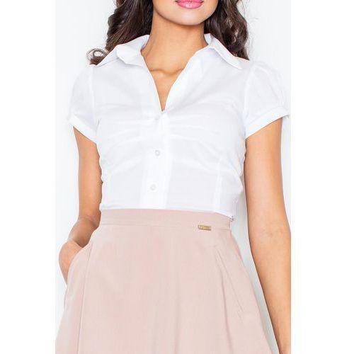Figl Biala elegancka koszula z krótkim rękawem