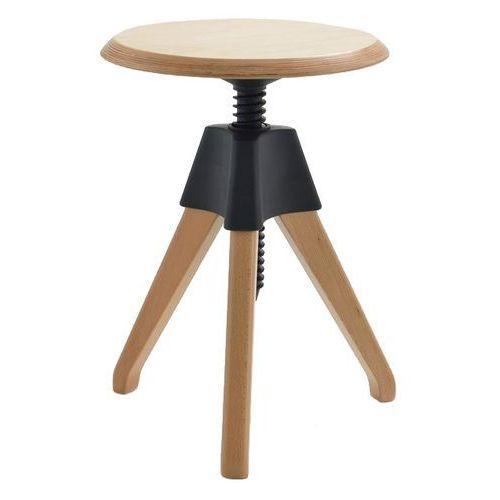 Stołek JERRY czarny - polipropylen, drewno, PW-017.CZARNY (7812665)