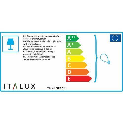 Lampa wisząca Italux Barocco MD72709-6B świecznikowa zwis 6x40W E14 czarny chrom, kolor Przezroczysty