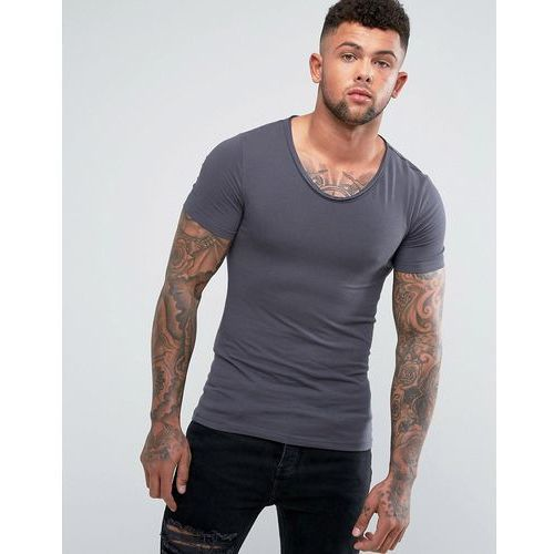 muscle fit t-shirt with voop neck in dark grey - grey, River island