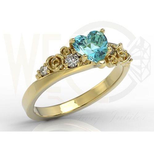 Węc - twój jubiler Pierścionek z żółtego złota z topazem swarovski blue i diamentami ap-5312z