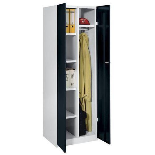 Szafa stalowa, szer. 600 mm, 4 półki, 1 garderoba, drzwi czarne. Do każdego zast