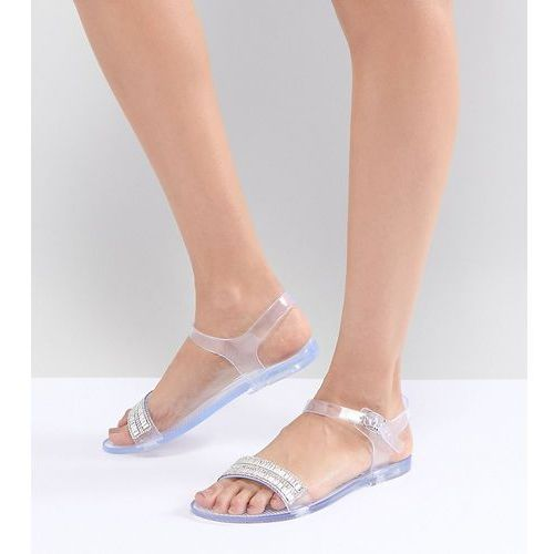 Park lane embellished jelly flat sandals - clear