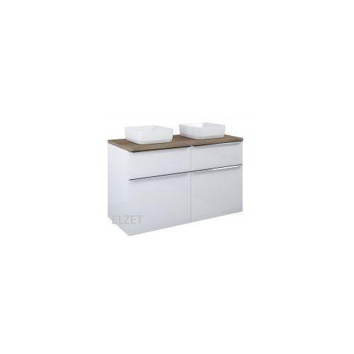 ELITA szafka Lofty 120 white pod 2 umywalki nablatowe + blat 120 dąb classic 167028+167042, 167028.167042