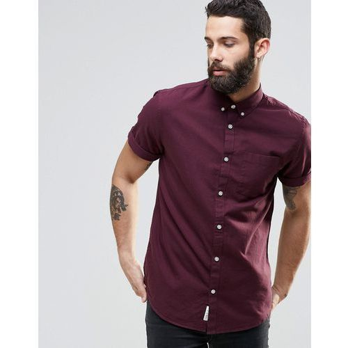 River Island Short-Sleeve Oxford Shirt In Burgundy In Regular Fit - Red