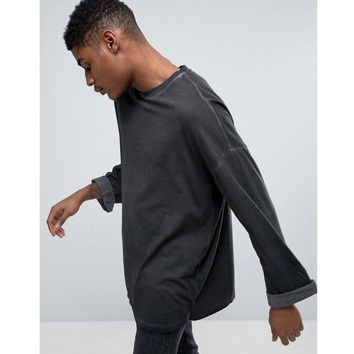 oversized long sleeve t-shirt with wide roll sleeve with pigment wash - grey marki Asos