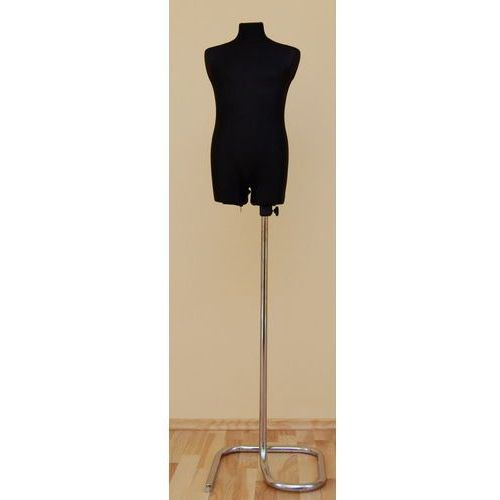 Manekin krawiecki - tors dziecięcy długi czarny na metalowym stojaku zawijanym, 00870