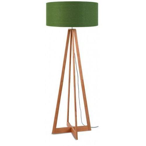 Lampa podłogowa everest bambus 4-nożna 127cm/abażur 60x30cm, lniany zieleń lasu marki It's about romi