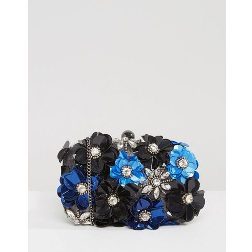 handmade floral embellished structured clutch bag - black marki Park lane