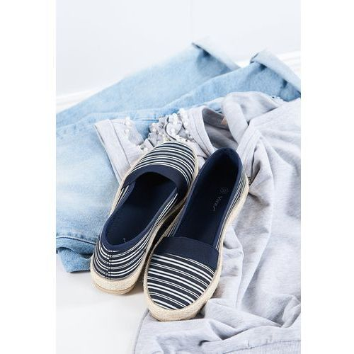 Granatowe Espadryle Relax, kolor niebieski
